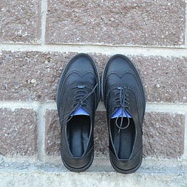 Обувь ручной работы. Ярмарка Мастеров - ручная работа Мужской оксфорд NICOLAS черный с синим языком. Handmade.
