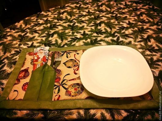 Текстиль, ковры ручной работы. Ярмарка Мастеров - ручная работа. Купить Ланчмат. Handmade. Зеленый, салфетка, сервировочные салфетки, новогодний