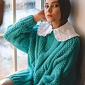 Одежда handmade. Livemaster - original item Jerseys: Long sweater oversize color bright mint. Handmade.