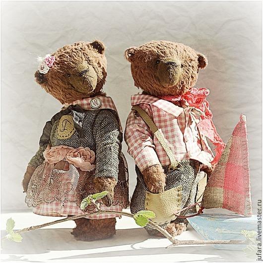 Мишки Тедди ручной работы. Ярмарка Мастеров - ручная работа. Купить Teddy bears boy and girl. Handmade. Розовый