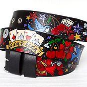 Аксессуары handmade. Livemaster - original item Genuine Leather Belt, Hand painted, Tattoo Old School.. Handmade.