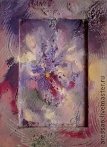 """Картины цветов ручной работы. Ярмарка Мастеров - ручная работа. Купить Картина-миниатюра """"Ночные фантазии"""". Handmade. Фиолетовый, подарок"""