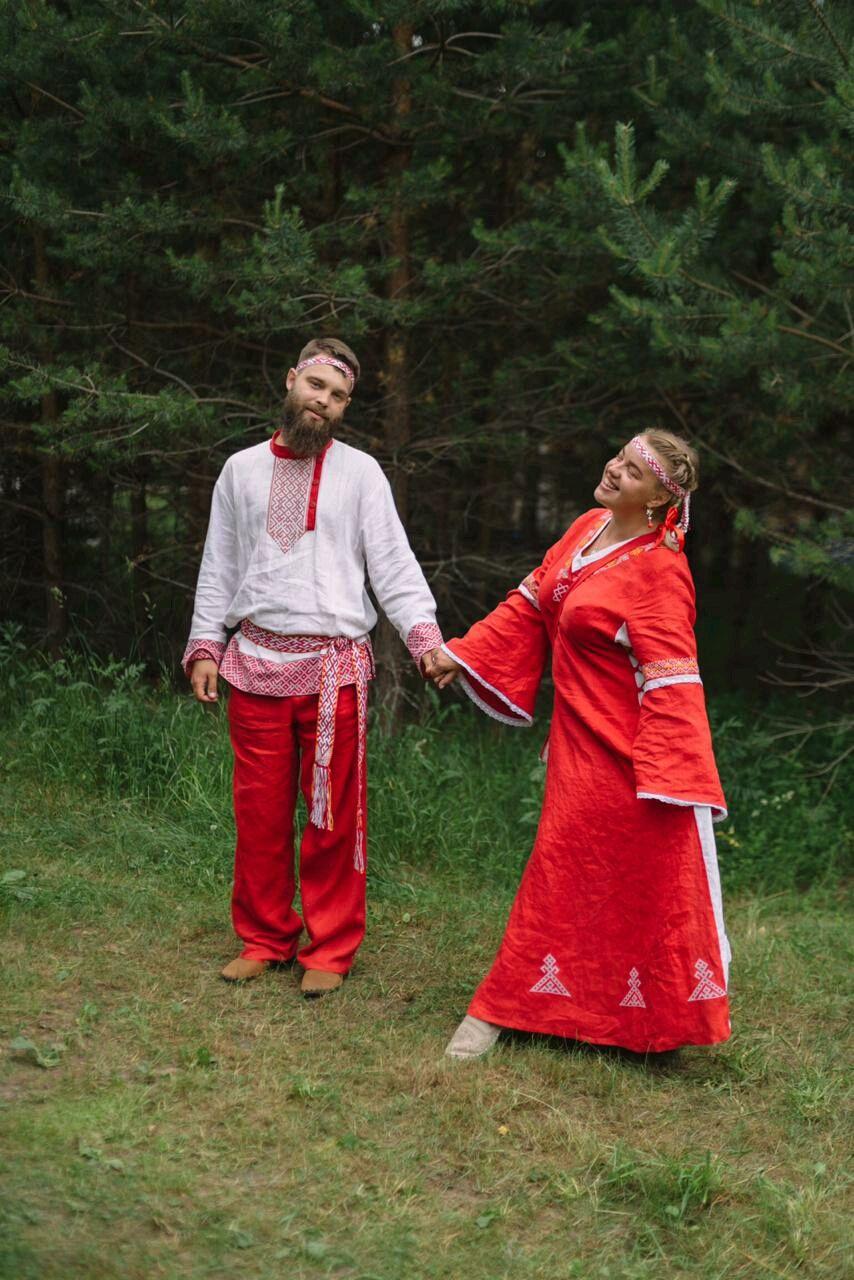 Славянский красный свадебный комплект из льна, Платья, Геленджик, Фото №1