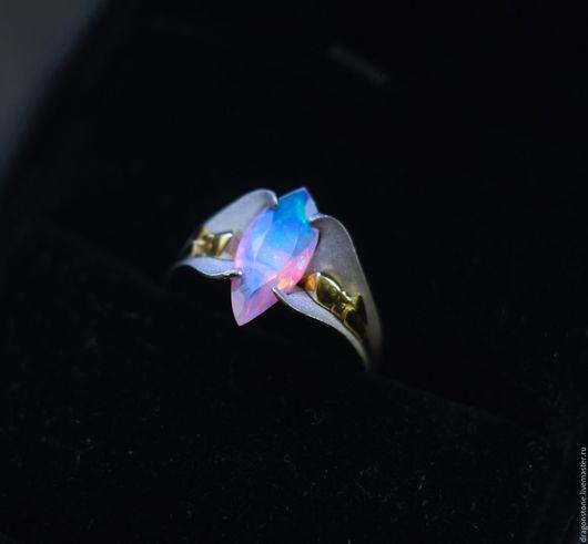"""Кольца ручной работы. Ярмарка Мастеров - ручная работа. Купить Кольцо """"Orchid"""" с опалом и бриллиантом. Handmade. Ярко-красный, бриллианты"""