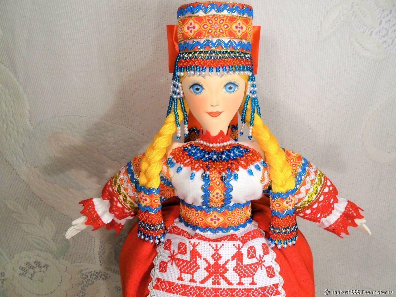 Кукла в русском  стиле с ручной вышивкой оберегом на чайник Макошь, Народные сувениры, Москва,  Фото №1