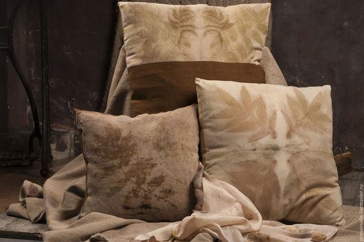 """Текстиль, ковры ручной работы. Ярмарка Мастеров - ручная работа. Купить Эко-подушки """"Отражения"""". Handmade. Эко-принт, белый"""