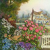 """Картины и панно ручной работы. Ярмарка Мастеров - ручная работа вышитая картина """" Дом в саду с белой калиткой"""" шелком. Handmade."""