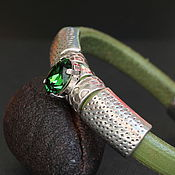 Украшения handmade. Livemaster - original item Leather bracelet Swarovski Regalis