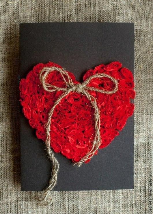 Валентинки ручной работы. Ярмарка Мастеров - ручная работа. Купить Мягкое сердечко. Handmade. Красный, любовь, открытка мужчине, картон