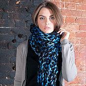 Аксессуары handmade. Livemaster - original item A large hand knit scarf, black-blue multicolor. Handmade.