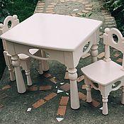 Для дома и интерьера handmade. Livemaster - original item Children`s set of table and two chairs Milk. Handmade.
