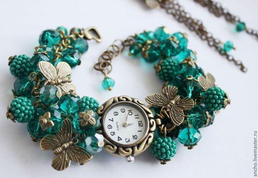 """Часы ручной работы. Ярмарка Мастеров - ручная работа. Купить Часы+серьги """"Бабочки в изумруде"""". Handmade. Морская волна, часы"""