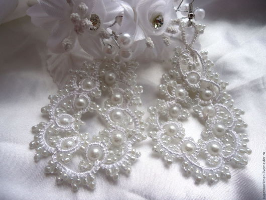 """Серьги ручной работы. Ярмарка Мастеров - ручная работа. Купить Серьги свадебные """"Верона"""". Handmade. Белый, серьги для невесты, распродажа"""