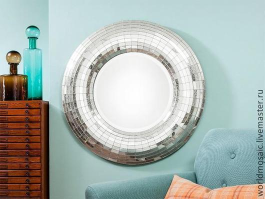 Зеркала ручной работы. Ярмарка Мастеров - ручная работа. Купить зеркало в мозаичной раме, объемное. Handmade. Серебряный, зеркало, стекло