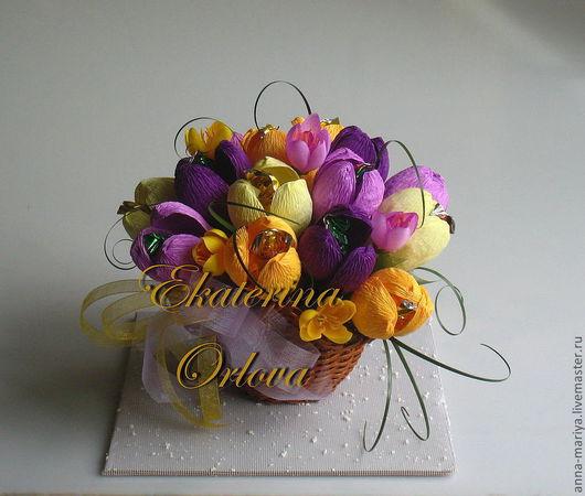 Букеты ручной работы. Ярмарка Мастеров - ручная работа. Купить Первоцветы (букет из конфет). Handmade. Первоцветы, конфеты, оригинальный подарок