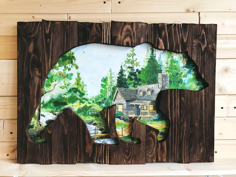 Медведь большой картина панно из состаренных досок, Изделия, Москва,  Фото №1