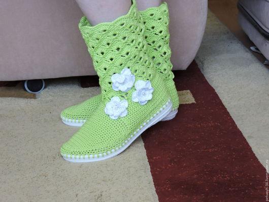 Обувь ручной работы. Ярмарка Мастеров - ручная работа. Купить сапожки. Handmade. Мятный, удобные на лето хлопок, необычный подарок