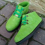 Обувь ручной работы. Ярмарка Мастеров - ручная работа Ботинки демисезонные шерстяные Зеленое яблоко. Handmade.