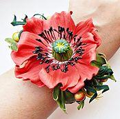 """Украшения ручной работы. Ярмарка Мастеров - ручная работа комплект из кожи"""" Любимый мак"""" браслет, брошь, украшение. Handmade."""
