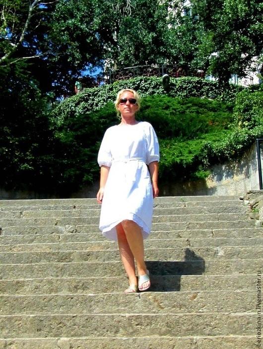 Платья ручной работы. Ярмарка Мастеров - ручная работа. Купить Платье Белый лён. Handmade. Белый, лён натуральный