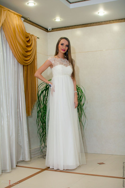 Одежда и аксессуары ручной работы. Ярмарка Мастеров - ручная работа. Купить Свадебное платье греческое в стиле ампир нежнейшее вышевка. Handmade.