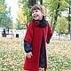 пальто, пальто вязаное, пальто ручной работы, пальто для девочки,  снуд,  меринос