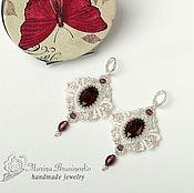 Украшения handmade. Livemaster - original item Earrings beaded Burgundy maroon white silver. Handmade.