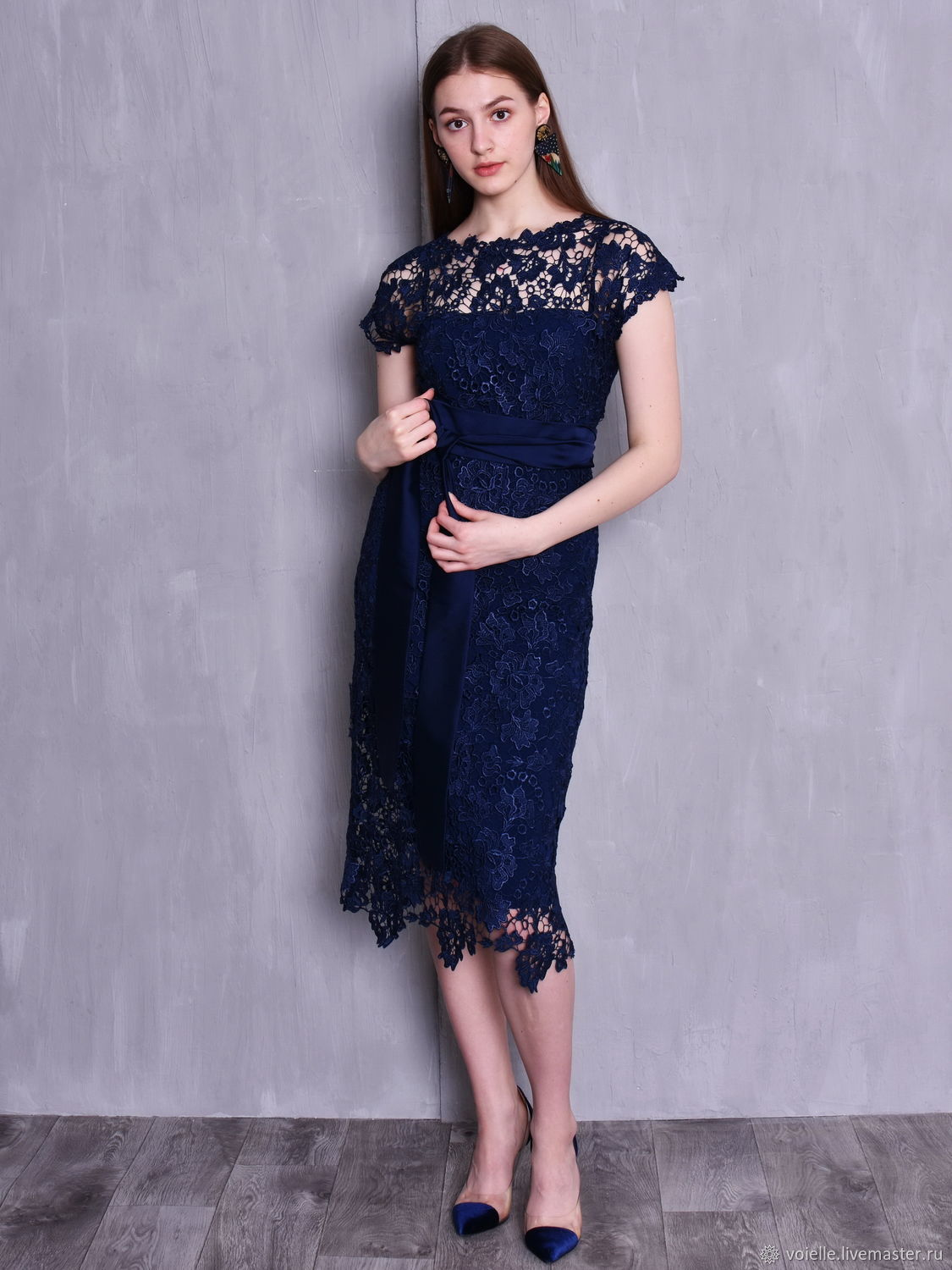 Evening dress lace dark blue, Dresses, Moscow,  Фото №1
