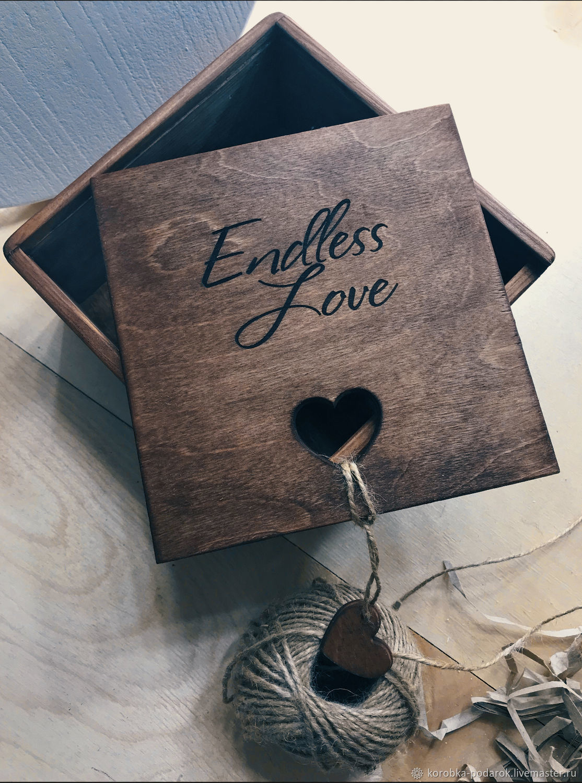 Бокс для подарка «бесконечная любовь» деревянный коричневый, Подарочная упаковка, Димитровград,  Фото №1