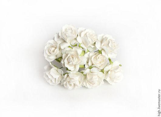 Розочки кудрявые, цвет белый, 3 см, РК-3-06