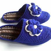 Обувь ручной работы handmade. Livemaster - original item Knitted bedroom Slippers - flip flops ( color - ultramarine ). Handmade.