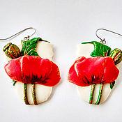 Украшения handmade. Livemaster - original item Earrings with flowers Poppy field polymer clay jewelry. Handmade.