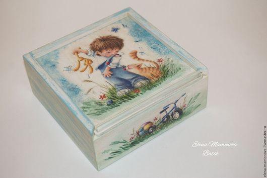 Развивающие игрушки ручной работы. Ярмарка Мастеров - ручная работа. Купить Детские кубики Мир детства, декупаж. Handmade. Голубой