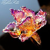 Украшения handmade. Livemaster - original item Large flower ring, VIDEO, stained glass, jewelry, cocktail. Handmade.