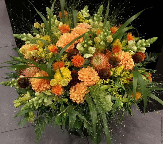 Букеты ручной работы. Ярмарка Мастеров - ручная работа. Купить букет из живых цветов. Handmade. Рыжий, зелень, полевые цветы