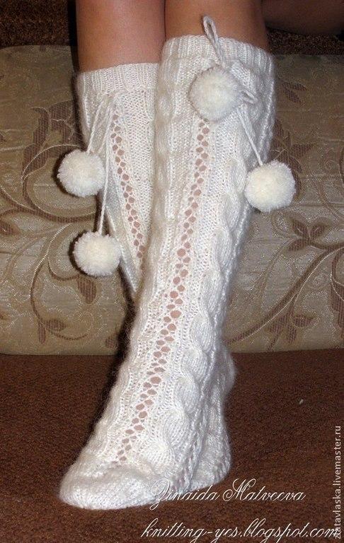 Носки, Чулки ручной работы. Ярмарка Мастеров - ручная работа. Купить Белоснежные гольфы из мягкой, нежной ангорской пряжи. Handmade.