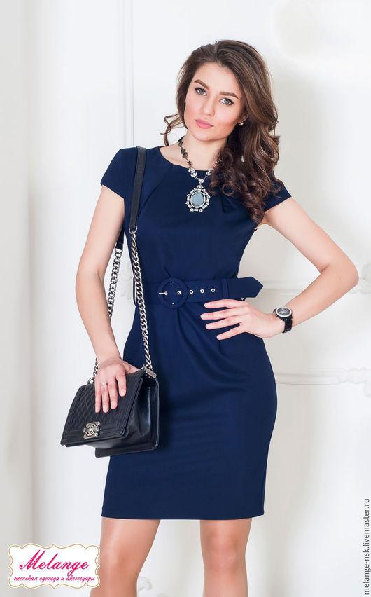 Платья ручной работы. Ярмарка Мастеров - ручная работа. Купить СКИДКА-3.700р!!Синее офисное платье с поясом. Handmade.