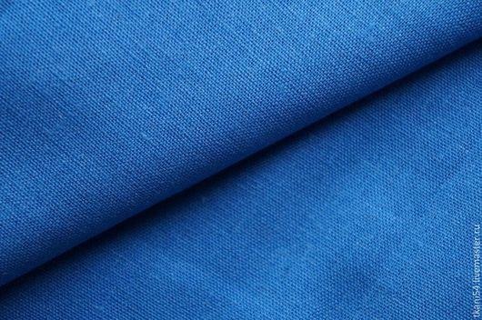 Шитье ручной работы. Ярмарка Мастеров - ручная работа. Купить Ткань кост. лен гл/краш., 135 см, ярко-голубой. Handmade.