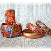 Украшения handmade. Livemaster - original item Brown kit wood bracelets India. East orange. Handmade.