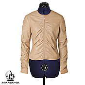 Одежда ручной работы. Ярмарка Мастеров - ручная работа Курка кожаная бежевая, куртка женская кожаная, куртка на весну осень. Handmade.