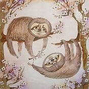 Картины и панно ручной работы. Ярмарка Мастеров - ручная работа Нежные ленивцы. Handmade.