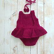 Бодики ручной работы. Ярмарка Мастеров - ручная работа Боди для фотосессии новорожденной с юбочкой из альпаки. Handmade.