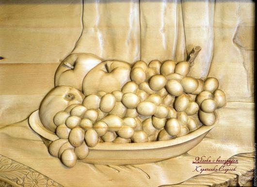 Натюрморт ручной работы. Ярмарка Мастеров - ручная работа. Купить Яблоки с виноградом. Handmade. Коричневый, яблоки, виноградный лист