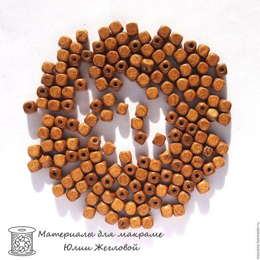 Для украшений ручной работы. Ярмарка Мастеров - ручная работа. Купить Бусины деревянные 6х6 мм светло-коричневые кубики. Handmade.