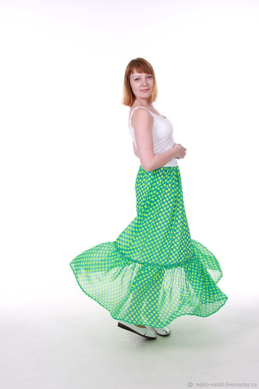Шифоновая юбка в пол зеленый горошек – купить в интернет-магазине на Ярмарке Мастеров с доставкой