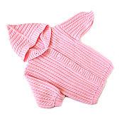 Работы для детей, handmade. Livemaster - original item Baby knitted cardigan with hood for girl, pink jacket. Handmade.