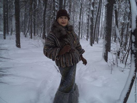 Верхняя одежда ручной работы. Ярмарка Мастеров - ручная работа. Купить Зимние полоски. Handmade. Серый, мех искусственный
