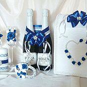 """Бокалы ручной работы. Ярмарка Мастеров - ручная работа Свадебный набор """"Сине-белый"""". Handmade."""