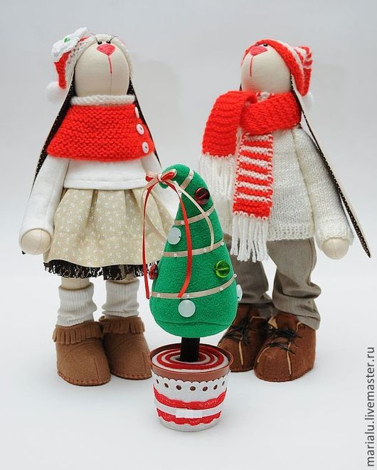 Куклы Тильды ручной работы. Ярмарка Мастеров - ручная работа. Купить Зайки с елкой. Handmade. Бежевый, подарок мужчине