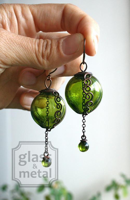 """Серьги ручной работы. Ярмарка Мастеров - ручная работа. Купить Серьги """"Солнце на болотах"""". Handmade. Зеленый, авторские украшения, болотный"""